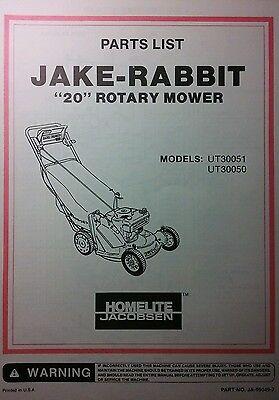 Homelite Jacobsen 20 Quot Jake Rabbit Ut30051 50 Walk Behind Lawn Mower Parts Manual Ebay