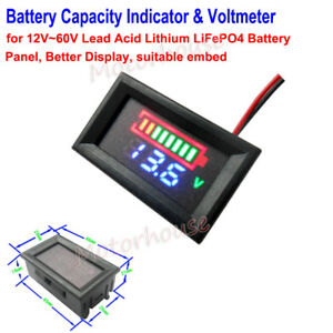Lithium Ion Car Battery >> Details About 12v 60v Lithium Li Ion 18650 Car Battery Capacity Indicator Panel Voltage Meter