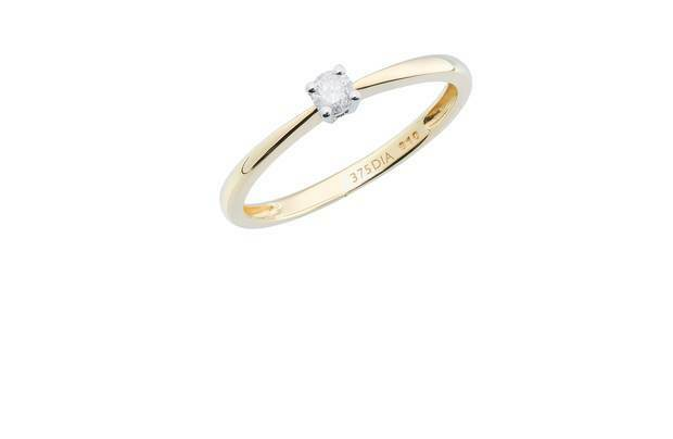 9ct Yellow gold 0.10ct Diamond Solitaire Ring Hallmarked RRP