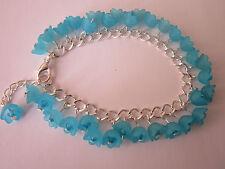 Lucite Flower Charm Bracelet - Turquoise Blue - Forget Me Nots