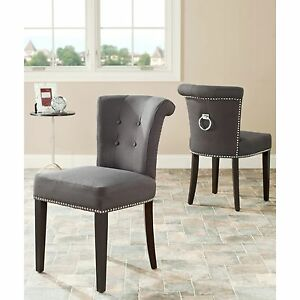 2 Grey Padded Side Chairs Nail Head Silver Ring Accent