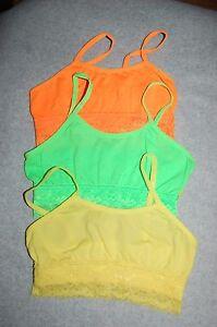 c966fa3290e Girls 3 BRA LOT Lace Trim BRIGHT GREEN NEON ORANGE YELLOW Sports ...