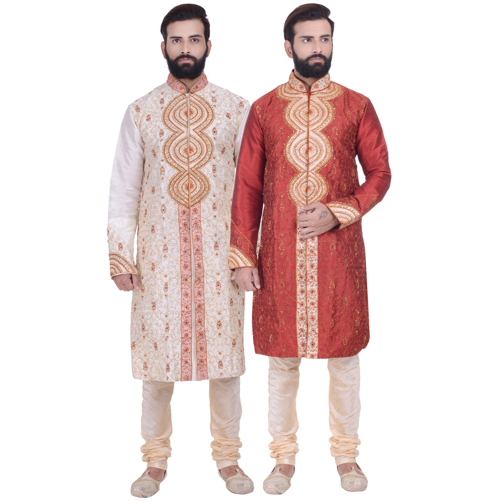 Ethnic Men Indian Bollywood Kurta Sherwani 2pc Suit (Worldwide Postage)