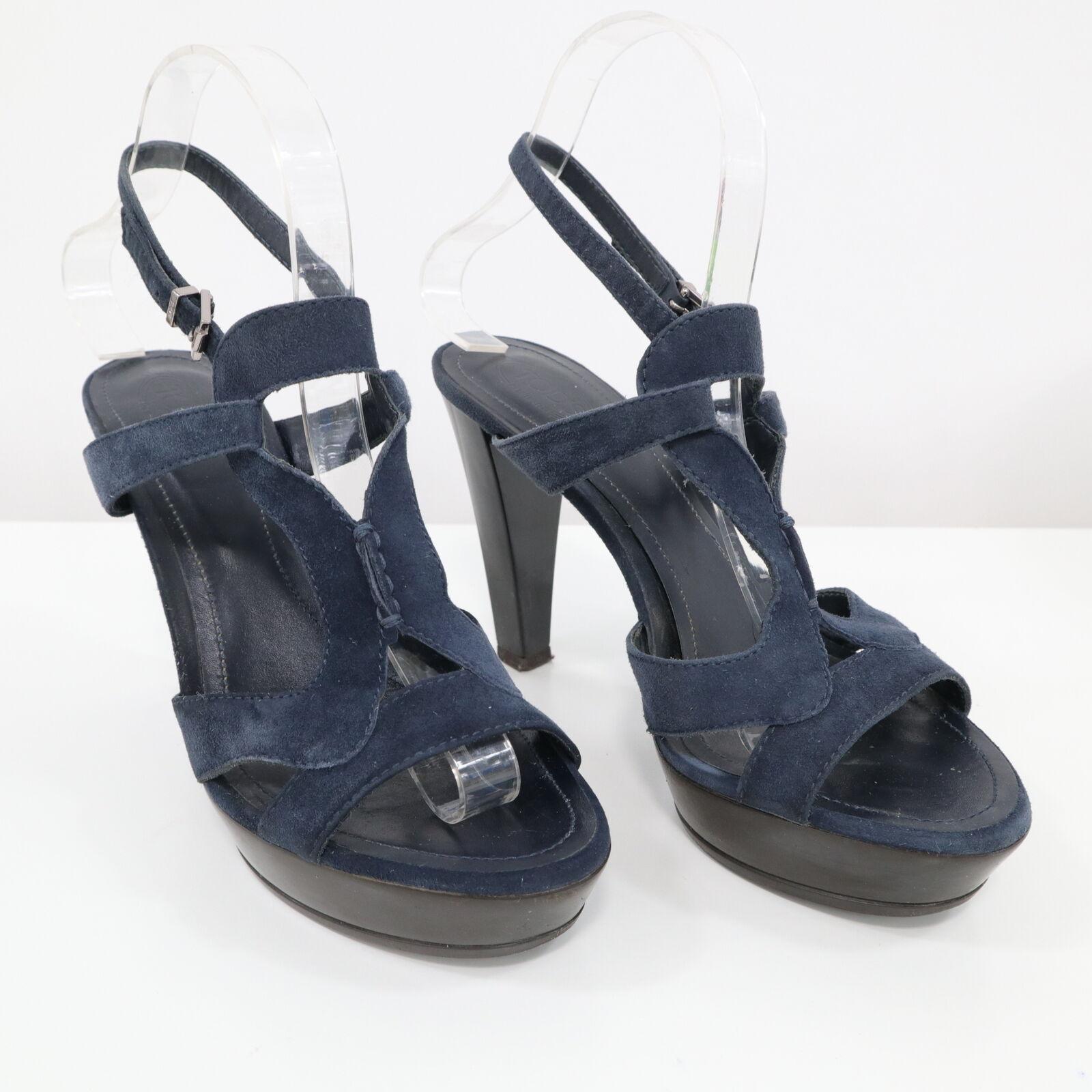 Tods Platform Sandals kvinnor kvinnor kvinnor 6.5   37 Navy blå mocka Strappy Chunky Heel  de senaste modellerna