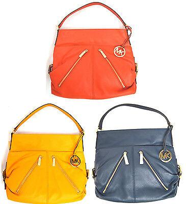 $348 MICHAEL Michael Kors Portland Large Hobo Leather Top Zip Shoulder Handbag