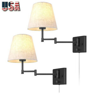 Swing Arm Wall Lamp Plug In Cord Industrial Wall Sconce Wall Lights Fixtures 2 L Ebay