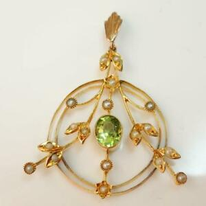 Vintage-Antique-9ct-Gold-Peridot-amp-Pearl-Pendant