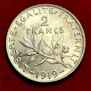 5262-2-francs-1919-Semeuse-Argent-SPL-belle-qualite-FACTURE