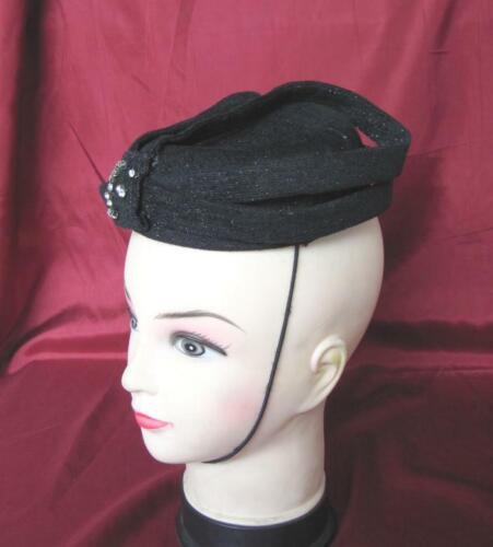 VINTAGE 1940s LADIES BLACK HAT