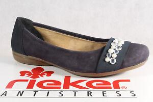Rieker-Zapatillas-de-Bailarina-Azul-Suave-Suela-Cuero-Goma-L8361-Nuevo