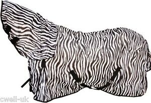 New-Horse-Cob-fly-rug-combo-attached-neck-cover-Zebra-Print-FREE-FLY-MASK