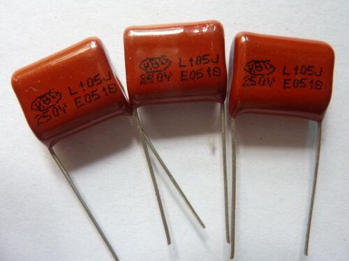 200PCS CL21 105J 250V 1UF 1000NF P15 Metallized Film Capacitor