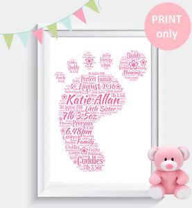 Personalised baby Christening Baby Shower Gift Keepsake WordArt