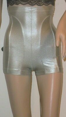 FRANCE METALLIC SILVER HIGH WAIST FITTED CONBODY STRETCHY HOUR GLASS SHORTS XS S