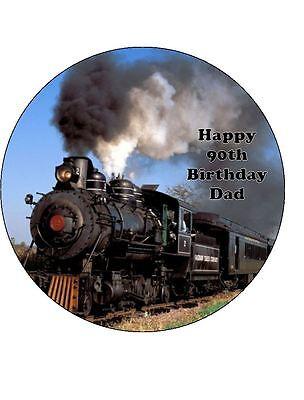 STEAM TRAIN RED HAPPY BIRTHDAY PRECUT EDIBLE CAKE TOPPER 7.5 INCH J2064