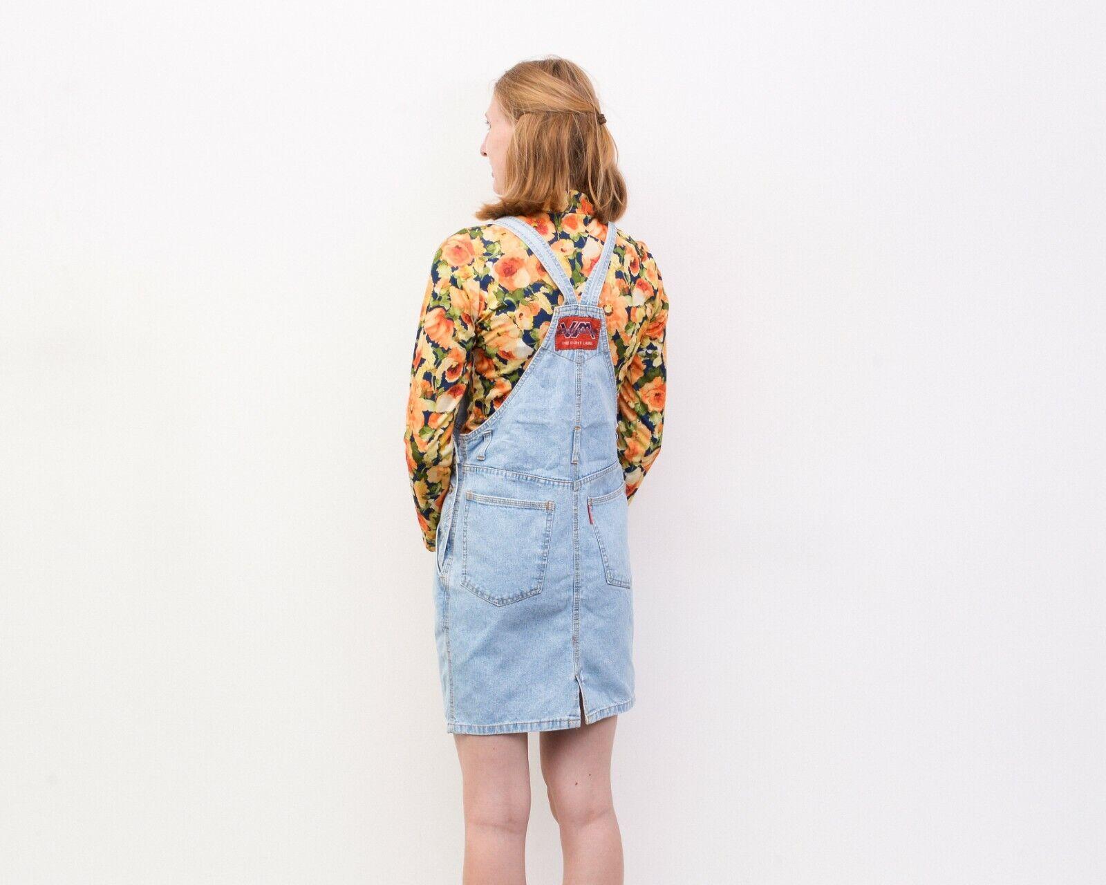 Y2K Women's XS Denim Dungaree Pinafore Dress Butt… - image 7