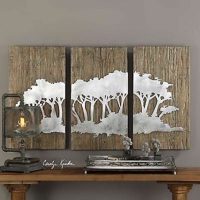 New 54 Rustic Wood Wall Panels Laser Cut Iron Burnished Silver