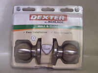 Schlage Hall Closet Door Knob Set Stainless Steel Finish