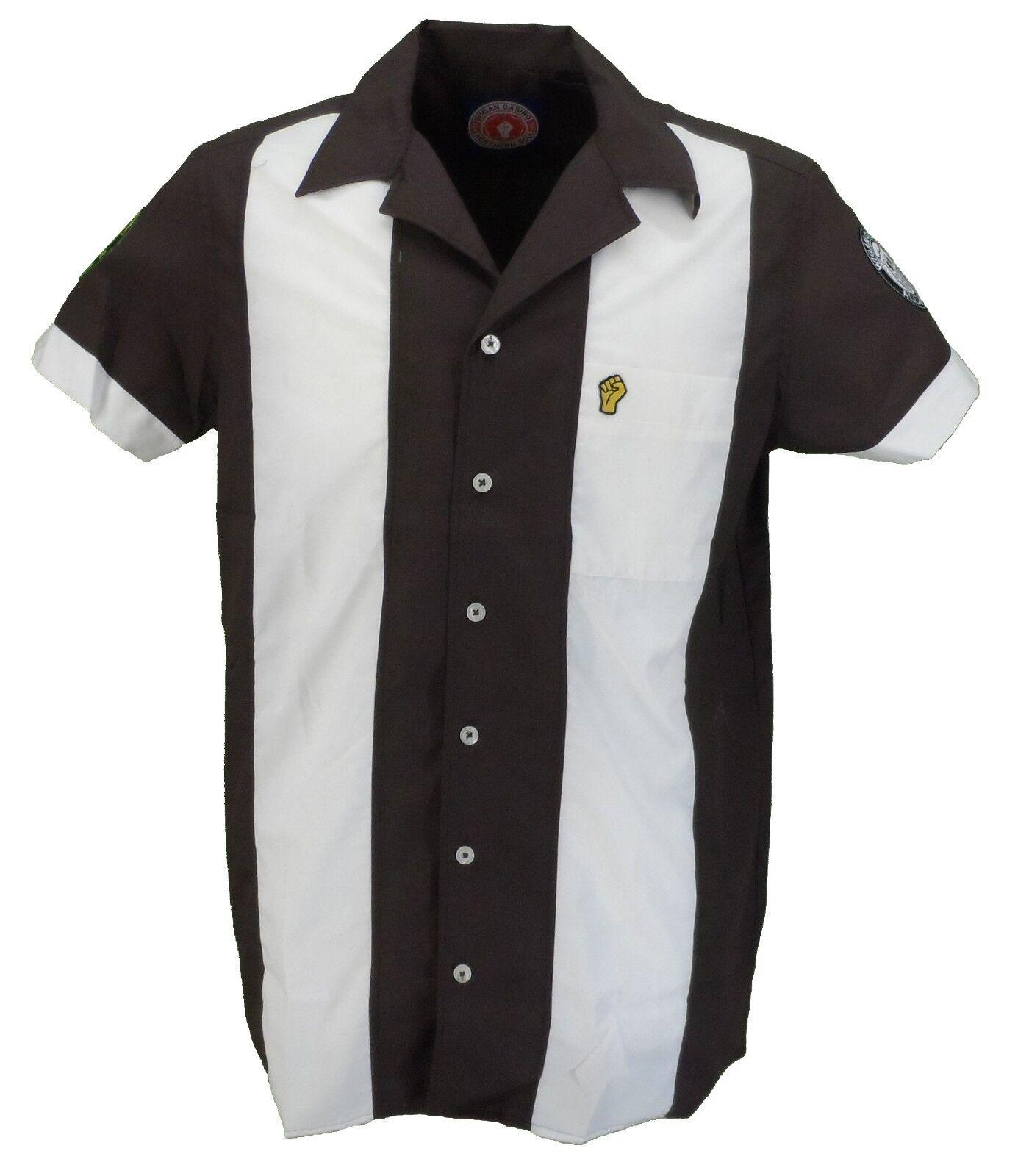 Wigan Casino Brown Retro Short Sleeved Bowling Shirt