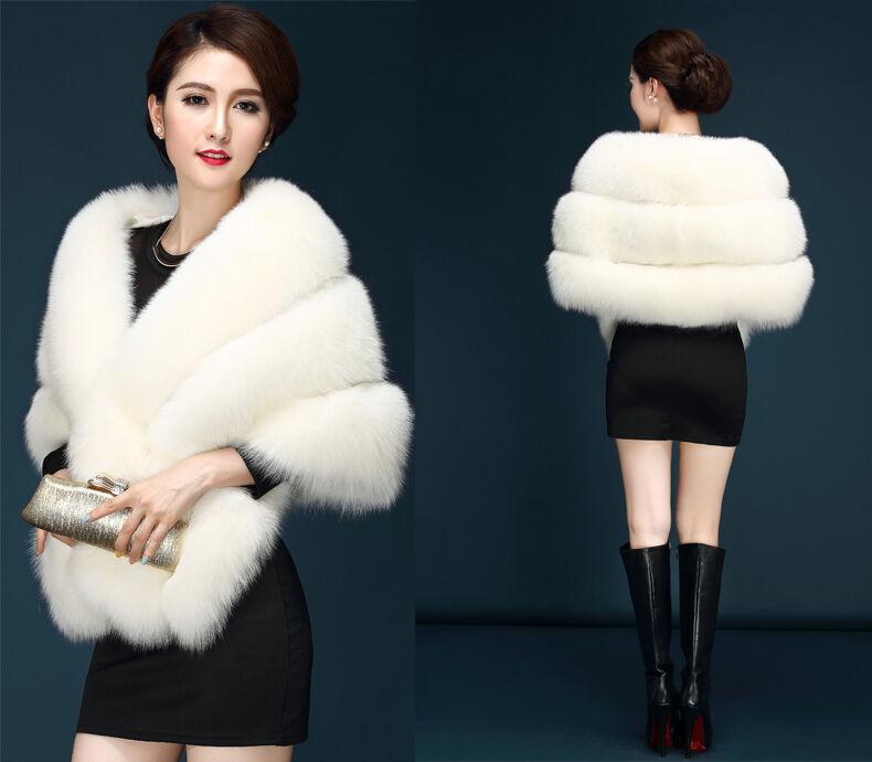 Fashion Womens Warm Faux Mink Fur Shawl Shrug Wedding Wrap Wrap Wrap Cape Evening Coat c254dd