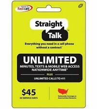 STRAIGHT TALK $45 30 DAYS UNLIMITED PLAN CARD TEXT AND WEB