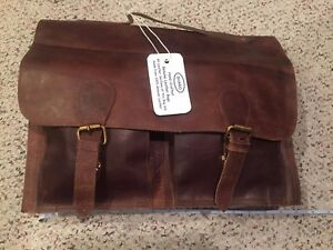 Brown Sharo Leather Bags Leather Messenger and Brief Bag