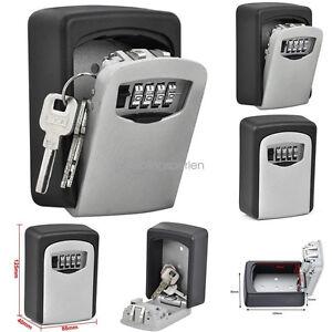 4 Digit Key Safe Security Storage Box Combination Lock Case Wall