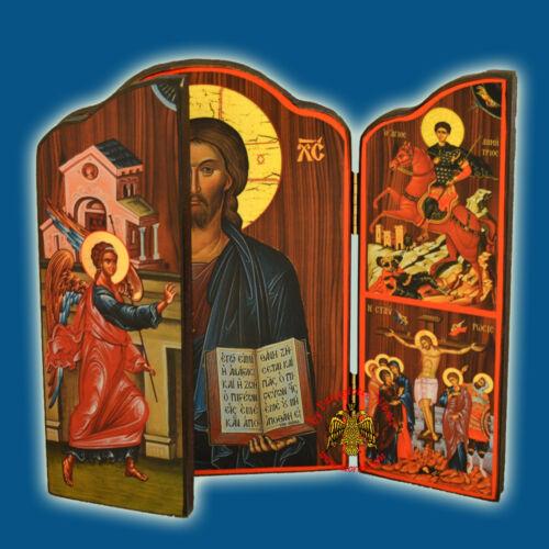 Orthodox Icon Triptych Pantokrator 4 Sizes Orthodoxes Ikonen Triptychon Christus