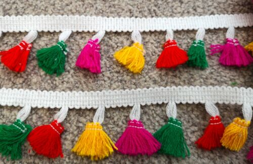 3  metres Multicoloured rainbow Thread Tassel Bunting Fringe Trim Craft Ribbon