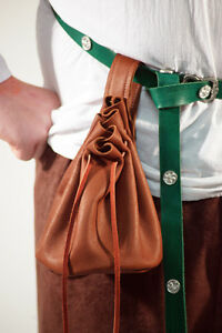 Beautiful Full Light Brown LEATHER MEDIEVAL PILGRIM ARCHER MONEY BAG POUCH