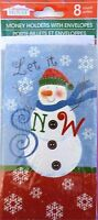 8 Ct. Christmas Money Gift Card Holders Cards W/ Envelopes Let It Snow