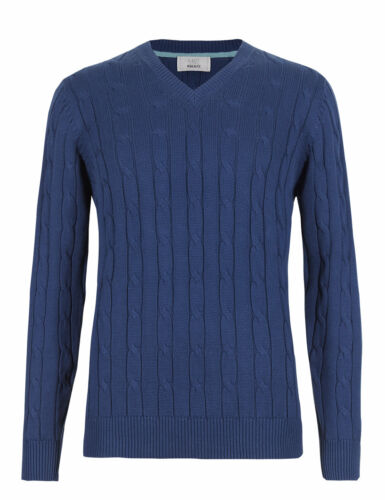 Marks /& Spencer Mens Cable Knit Jumpers New M/&S V Neck Aran Sweater Pullover Top