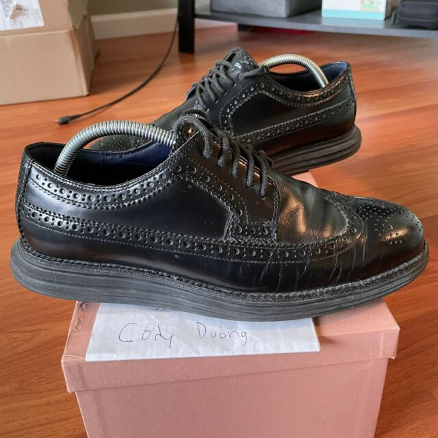 Cole Haan Lunargrand Black Wingtip Brogue Shoes Size 9 Used Lunarlon Long Wing