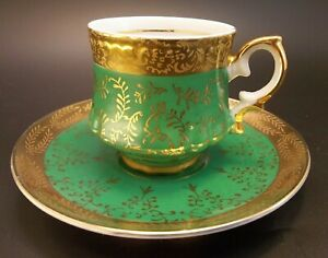 Demitasse-Tea-Cup-Saucer-Set-Bone-China-Green-Scroll-Gilded