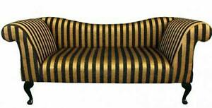 Double arm chaise sofa in black and gold stripe ebay for Black and gold chaise lounge