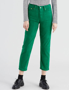 best quality lace up in incredible prices Details about NEW Levi's Green Corduroy Wedgie Straight Leg Jeans High  Waist Flood Pants 33/26