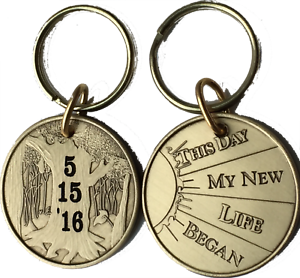 Personalized AA NA Sponsor Thank You Medallion Chip Coin Engraved Initials