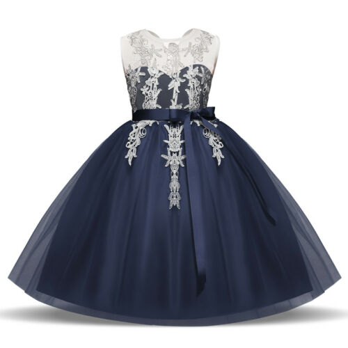 New Cute Wedding Princess Girls Dress Stylish Lace Flowergirl Party Kids Clothes