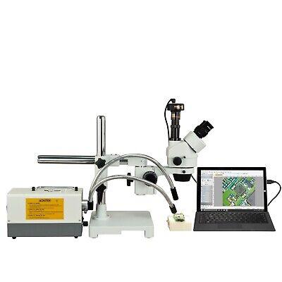 OMAX 2.1X-270X Zoom 5MP Digital Boom Stereo Microscope+150W Dual Fiber Light
