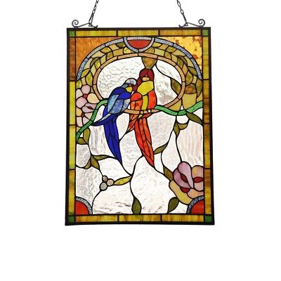 Stained Glass Love Birds Window Panel Handcrafted Tiffany Style 24 6 H X 17 7 W Ebay