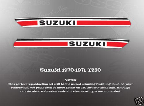 SUZUKI 1970-1971 T250 FUEL TANK DECALS GRAPHICS