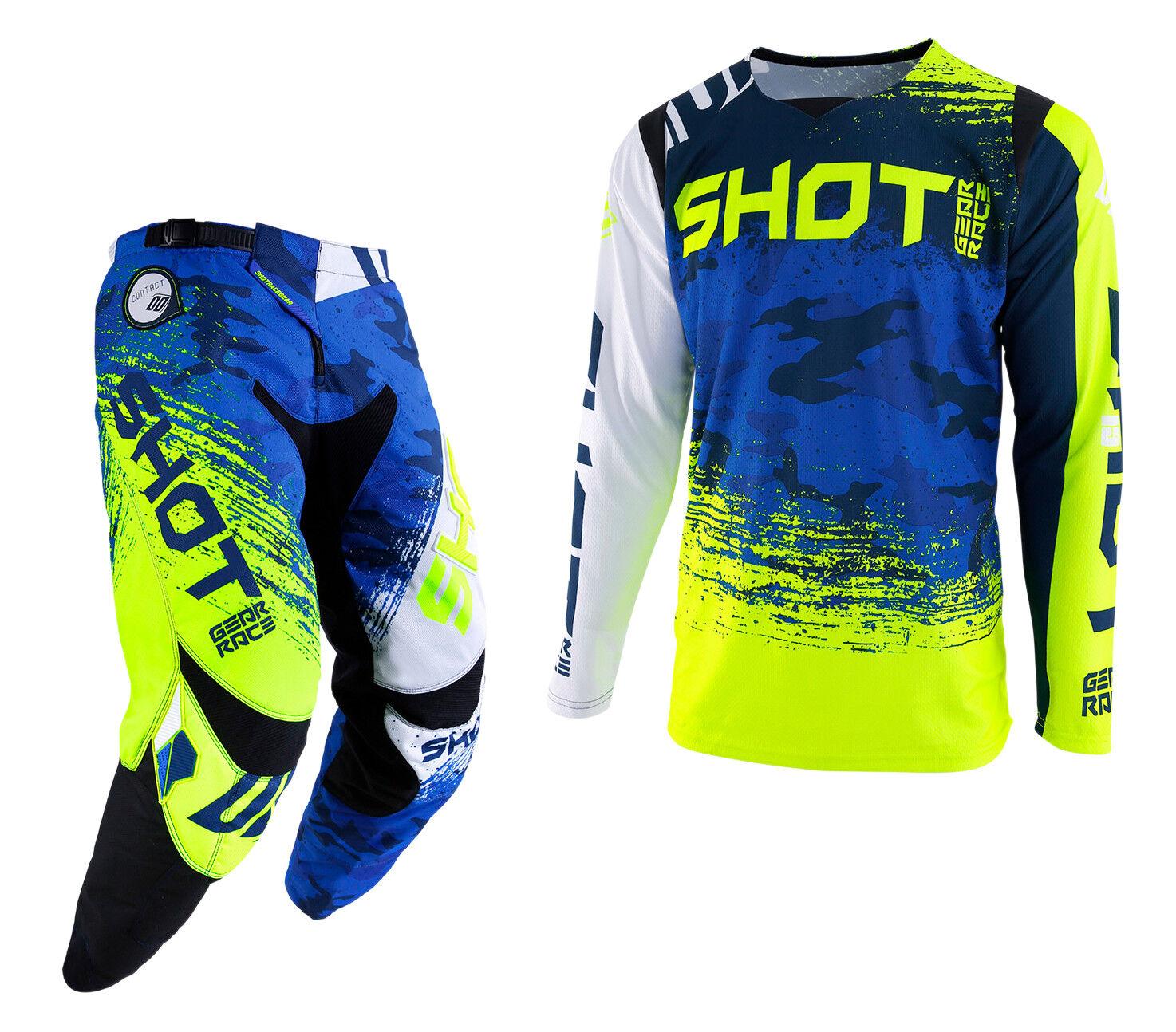 2019 SHOT COUNTER PANT & JERSEY MTB BMX DOWNHILL DH DH DOWNHILL COMBO KIT CAMO Blau Gelb 6e1431
