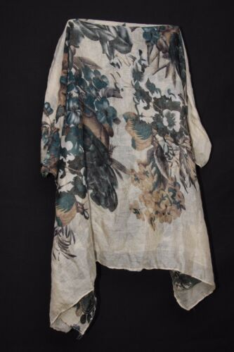 Cream Deep Forest Green Charcoal Paisley /& Roses Print Sheer Summer Scarf S194A