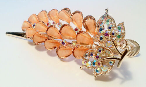 Hair Clip  in Leaf and Feather Design w Rhinestones and Crystal Accent