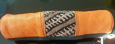 Moroccan leather & carpet make-up/cosmetic bag/purse/ pencil case ORANGE(2) SALE