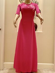 Free 1-3 days Priority shipping Ao Dai Silk Vietnamese Long Dress with Pants