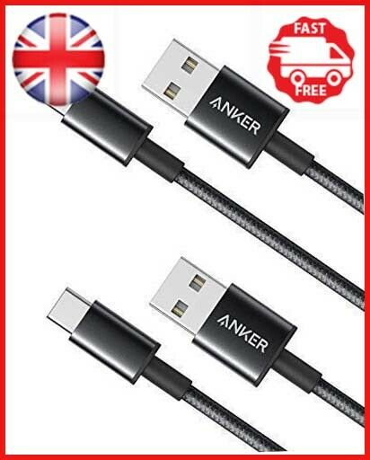 Anker [2-Pack 3ft] Premium Nylon USB-C to USB-A 2.0 Cable, for Samsung Galaxy S9