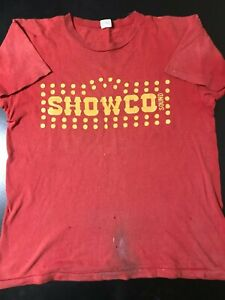 Vintage-70s-1974-Showco-Mountain-Concert-Tour-T-Shirt-Sound-Roadie-Crew-Rock