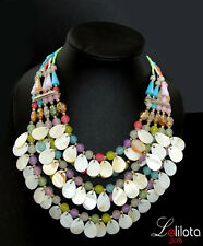 XL Luxus Statement Kette Halskette Lolilota Paris Hippie Perlmutt Glas Bunt