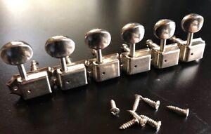 Aimable Fender Années 80 Vintage Strat/tele Tuners-nickel-afficher Le Titre D'origine